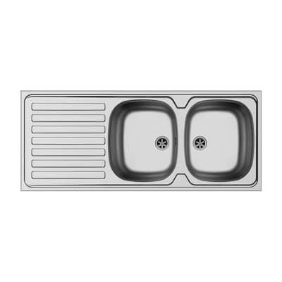 Lavello sovrapposto Dioniso 120 x 50 cm 2 vasche con gocciolatoio