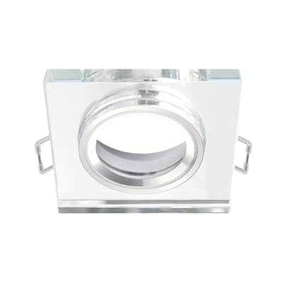 Ghiera per faretto da incasso orientabile quadrato Rende in vetro, trasparente, diam. 6 cm 9x0.9cm GU10 MAX50W IP23 INSPIRE 1 pezzi