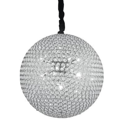 Lampadario Planet acciaio, trasparente, cromo, in cristallo, diam. 50 cm, G9 9xMAX28W IP20