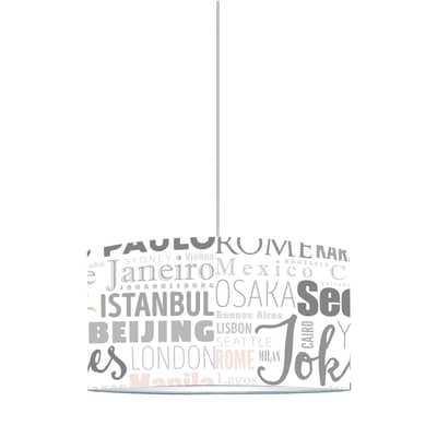 Lampadario World Cities bianco, rosa, grigio, in plastica, diam. 40 cm, E27 MAX60W IP20