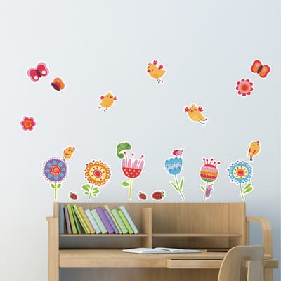 Sticker Birds and flowers 47.5x70 cm