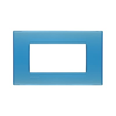 Placca BTICINO Living light 4 moduli azzurro