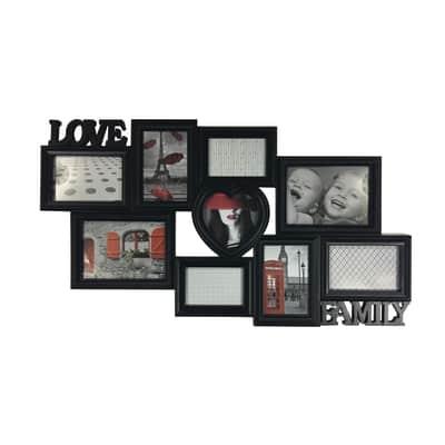 Cornice Love & family per 9 fotografie 13 x 18 nero
