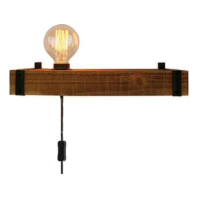 Applique Woodhill legno/nero, in metallo, 40x13 cm, E27 MAX60W IP20 BRILLIANT