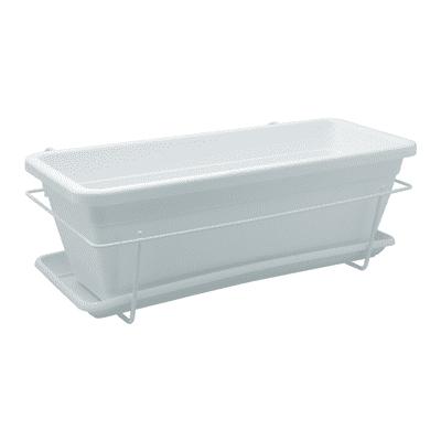 Set vaso e portavaso Veneza + sottofioriera ARTEVASI in polipropilene colore bianco H 16.3 cm, L 50 x P 19.5 cm