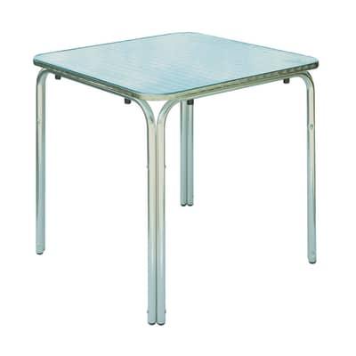 Tavolo da pranzo per giardino quadrato con piano in alluminio L 70 x P 70 cm