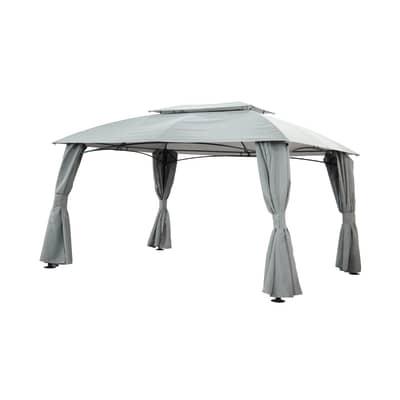 Gazebo acciaio e poliestere Anacapri grigio L 300 cm x P 400 cm, H 2.7 m