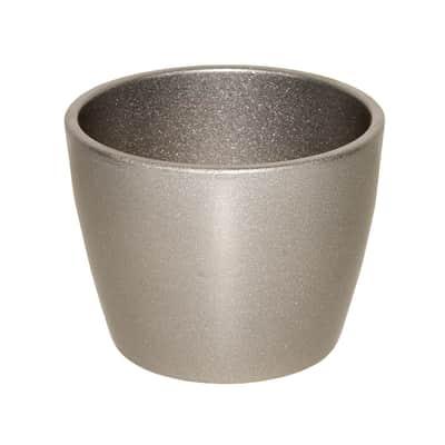 Portavaso Stella in ceramica colore argento H 26.9 cm, Ø 32 cm