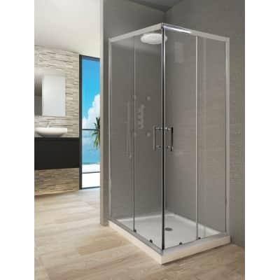Box doccia rettangolare 80 x 100 cm, H 190 cm in vetro temprato, spessore 6 mm trasparente argento