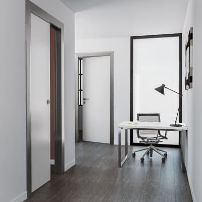 Porta scorrevole a scomparsa per ufficio Frame bianco L 80 x H 210 cm reversibile