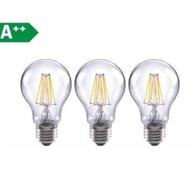 Lampadina Filamento LED E27 standard bianco tenue 6W = 806LM (equiv 60W) 360° LEXMAN, 3 pezzi
