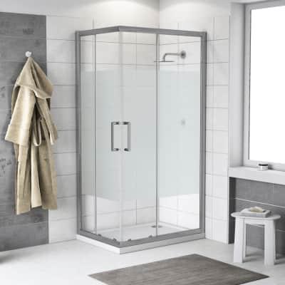 Box doccia scorrevole Quad 120 x 120 cm, H 190 cm in vetro temprato, spessore 6 mm serigrafato argento