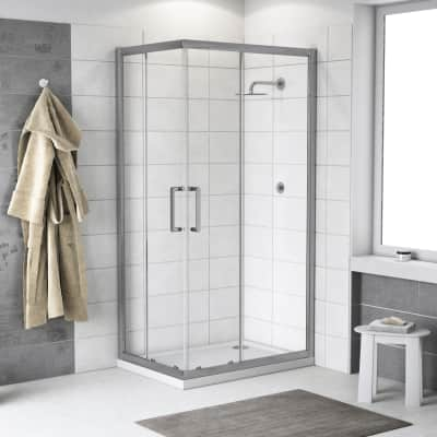 Box doccia scorrevole Quad 120 x 120 cm, H 190 cm in alluminio e vetro, spessore 6 mm trasparente argento