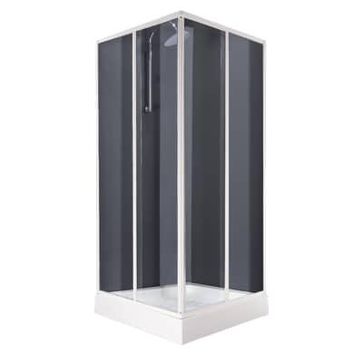 Box doccia quadrato 80 x 80 cm, H 180 cm in vetro temprato, spessore 3 mm granigliato bianco