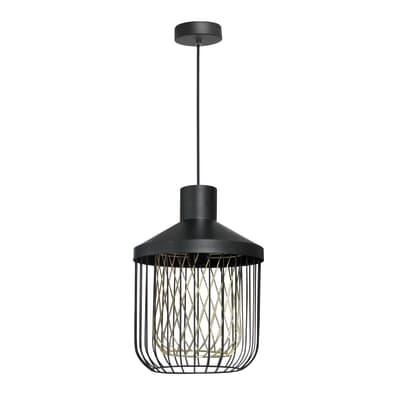 Lampadario Undulat nero, in ferro, diam. 12 cm, E27 MAX60W IP20 INSPIRE