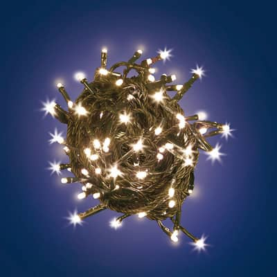 Catena luminosa 180 lampadine LED bianco caldo 9.5 m