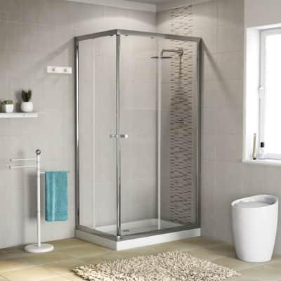 Box doccia rettangolare scorrevole Dado 70 x 90 cm, H 185 cm in vetro temprato, spessore 5 mm trasparente cromato