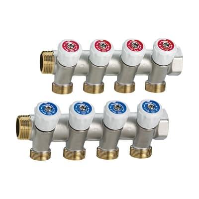 """Collettore con rubinetto 1pz/adesivi identificativi caldo/freddo Maschio Ø 3/4"""""""