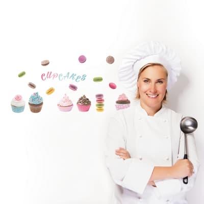 Sticker Cupcakes & macarons 20x20 cm
