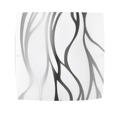 Plafoniera classico Sonny grigio, in vetro, 30x30 cm, 2  luci