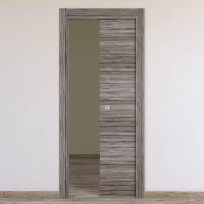 Porta scorrevole a scomparsa Cover palissandro grigio L 90 x H 210 cm reversibile