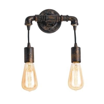 Applique industriale Amarcord ruggine, in acciaio, 27.5 cm, 2 luci