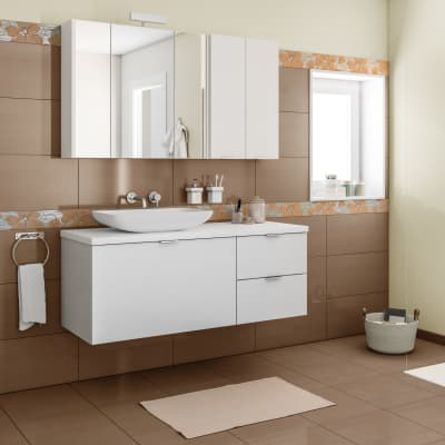 Mobile bagno Linea larice bianco L 135 cm