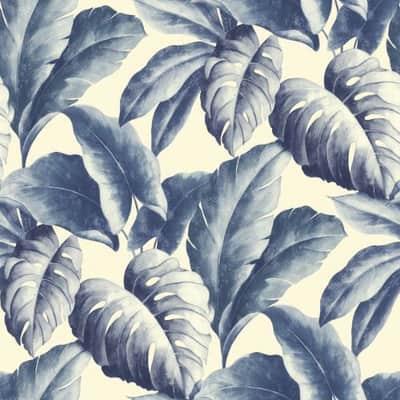 Carta da parati Foglie tropicali blu