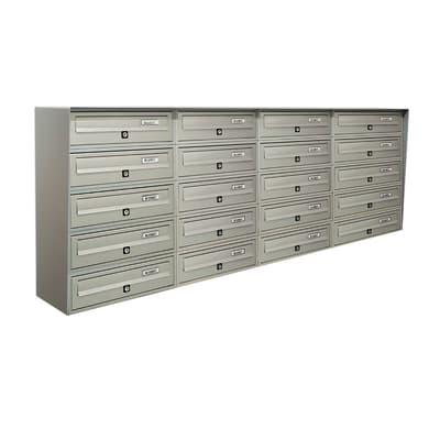 Casellario postale condominiale formato Rivista, argento metallizzato, L 154.5 x P 30 x H 63 cm