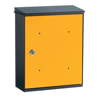 Cassetta postale formato Rivista, ghisa/giallo, L 26 x P 11 x H 33 cm