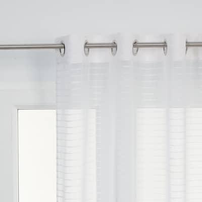 Tenda Righe orizzontali bianco occhielli 140x280 cm