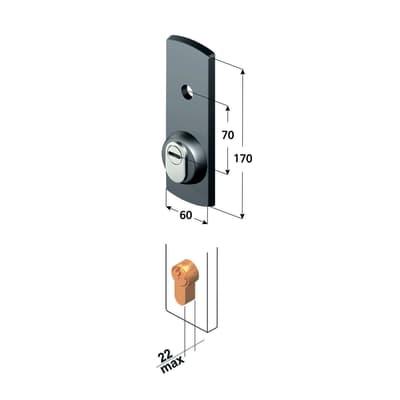 Serratura per porta garage PLACCA PROT. SERR. BASC. CIL. SAG. L 190 x H  710 mm interasse 150 mm