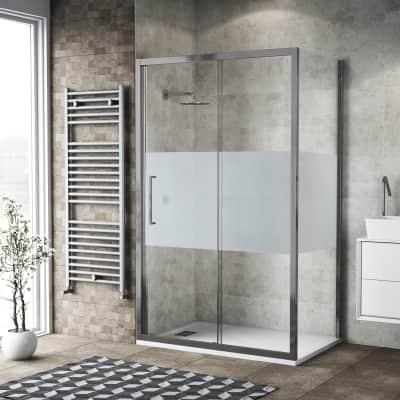 Box doccia scorrevole 170 x 80 cm, H 195 cm in vetro, spessore 6 mm serigrafato argento