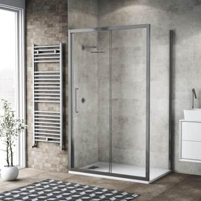 Box doccia scorrevole 165 x 80 cm, H 195 cm in vetro, spessore 6 mm trasparente argento
