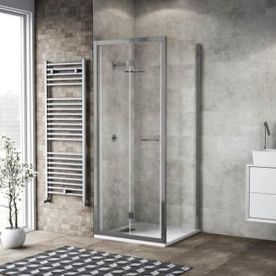 Box doccia pieghevole 85 x 80 cm, H 195 cm in vetro, spessore 6 mm trasparente argento