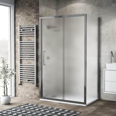 Box doccia scorrevole 115 x 80 cm, H 195 cm in vetro, spessore 6 mm spazzolato argento