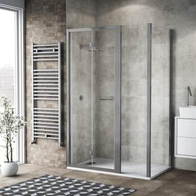 Box doccia pieghevole 120 x 80 cm, H 195 cm in vetro, spessore 6 mm trasparente argento