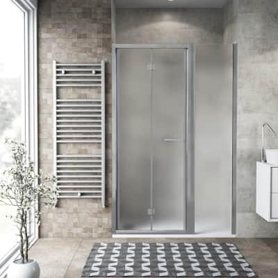 Box doccia pieghevole 130 x 70 cm, H 195 cm in vetro, spessore 6 mm spazzolato argento