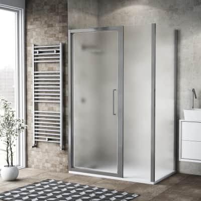 Box doccia battente 125 x , H 195 cm in vetro, spessore 6 mm spazzolato argento