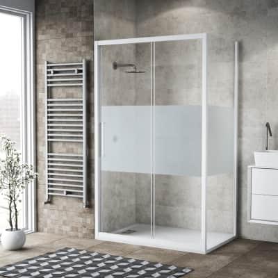 Box doccia scorrevole 110 x 80 cm, H 195 cm in vetro, spessore 6 mm serigrafato bianco