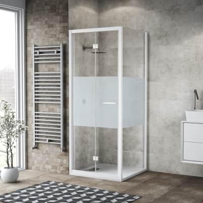Box doccia pieghevole 70 x , H 195 cm in vetro, spessore 6 mm serigrafato bianco