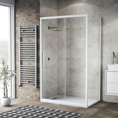 Box doccia scorrevole 135 x 80 cm, H 195 cm in vetro, spessore 6 mm trasparente bianco