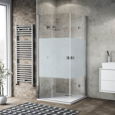 Box doccia pieghevole 80 x 90 cm, H 200 cm in vetro, spessore 6 mm serigrafato cromato