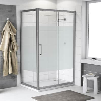 Box doccia scorrevole 120 x 70 cm, H 200 cm in vetro temprato, spessore 6 mm serigrafato cromato