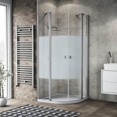 Box doccia semicircolare battente Neo 80 x 80 cm, H 201.7 cm in alluminio e vetro, spessore 6 mm serigrafato argento