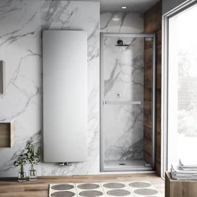 Porta doccia battente Namara 90 cm, H 195 cm in vetro temprato, spessore 8 mm trasparente satinato