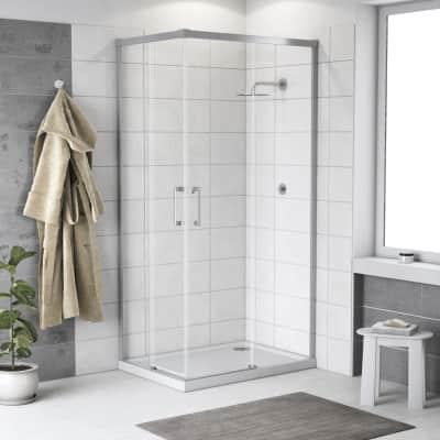 Box doccia scorrevole Remix 120 x 120 cm, H 195 cm in vetro temprato, spessore 6 mm trasparente cromato