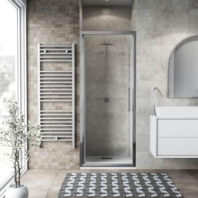 Porta doccia battente Record 72 cm, H 195 cm in vetro temprato, spessore 6 mm trasparente satinato