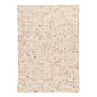 Tappeto Leather mosaic patch beige 120x60 cm