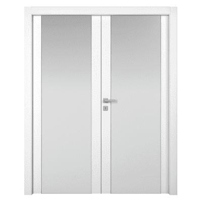 Porta a battente Plaza 2 Ante frassino bianco L 160 x H 210 cm sinistra